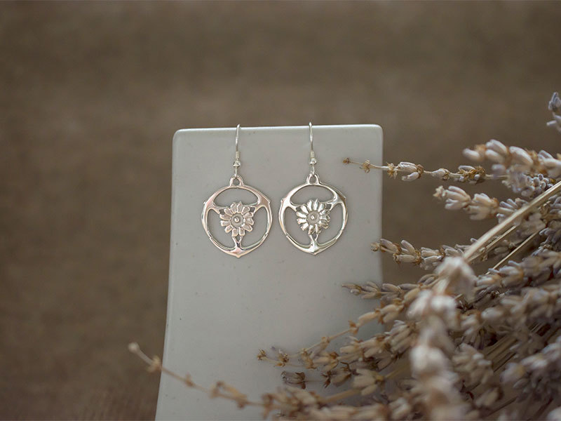 A picture of 'Silver Gorsedd of Birds Earrings'