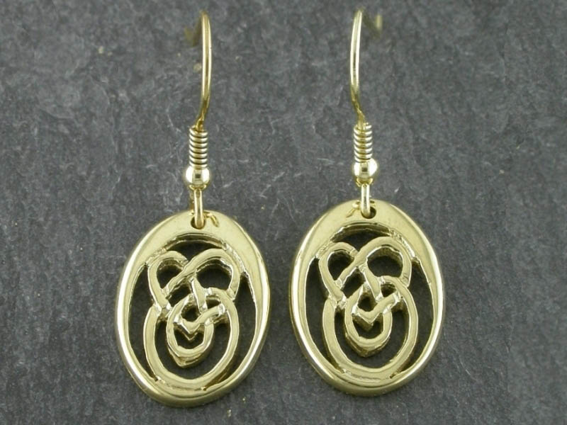 A picture of '9ct Gold Small Calon Lân Earrings'