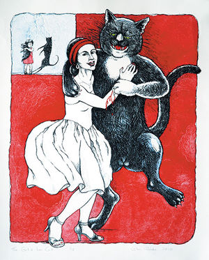 A picture of 'The Girl and Her Cat'