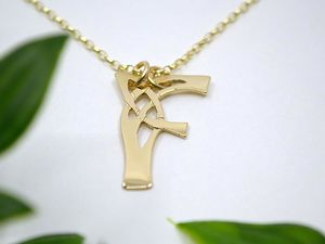 A picture of '18ct Gold Pendant - Initial F'