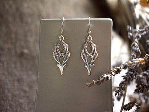 A picture of 'Silver Rhedynfre Stag Earrings'