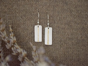 A picture of 'Silver and Gold Afon Ystwyth Earrings'