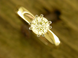 A picture of '9ct Rhiannon Welsh Gold Diamond Solitaire Ring'