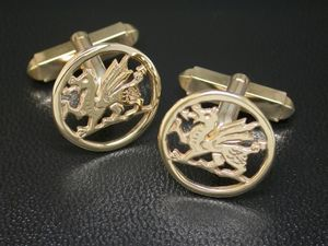 A picture of '9ct Rhiannon Welsh Gold Dragon Cufflinks'