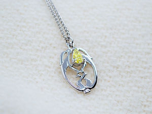 A picture of '18ct White Gold Melangell's Little Hares Pendant'