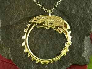 A picture of '9ct Gold Circle Dragon Pendant'