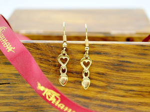 A picture of '18ct Gold Heart Love-spoon Earrings'