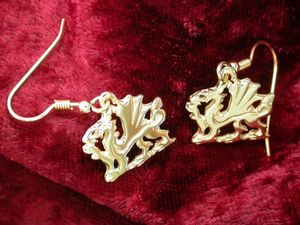 A picture of '9ct Gold Welsh Dragon Earrings'