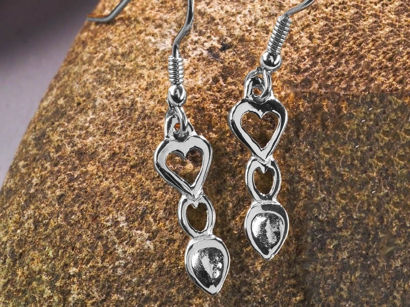 A picture of 'Silver Heart Love-spoon Earrings'