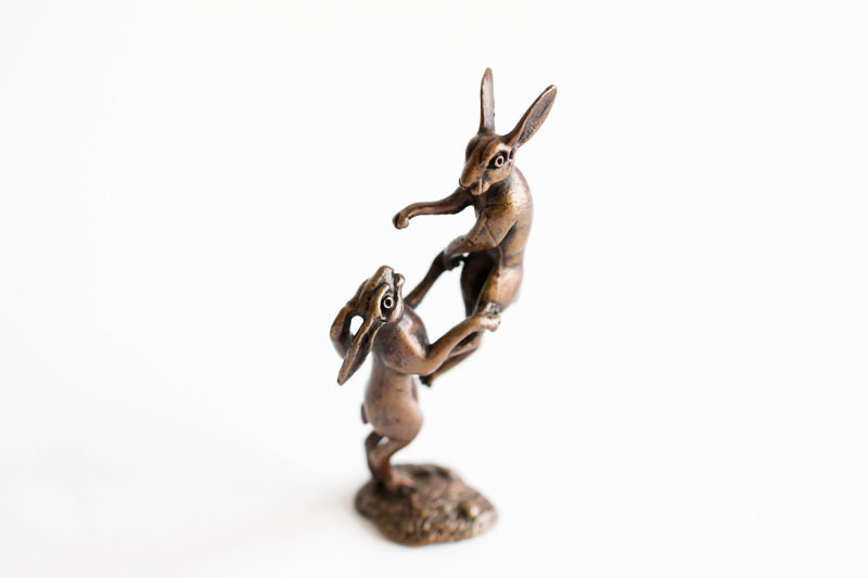 A picture of 'Miniature Bronze Boxing Hares''