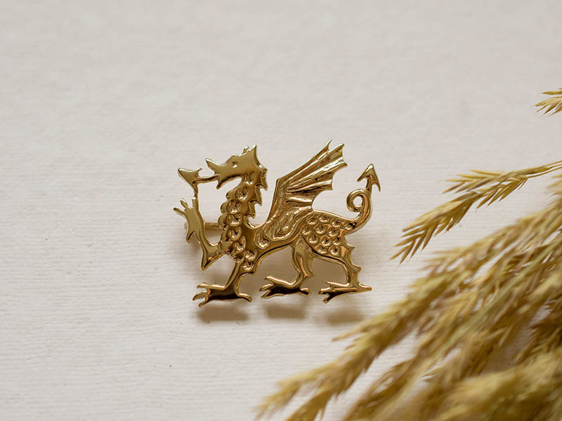 18ct Gold Large Dragon Brooch