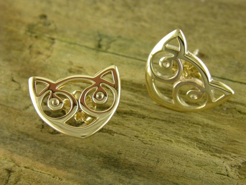 9ct Gold Small Snowdon Cat Earstuds
