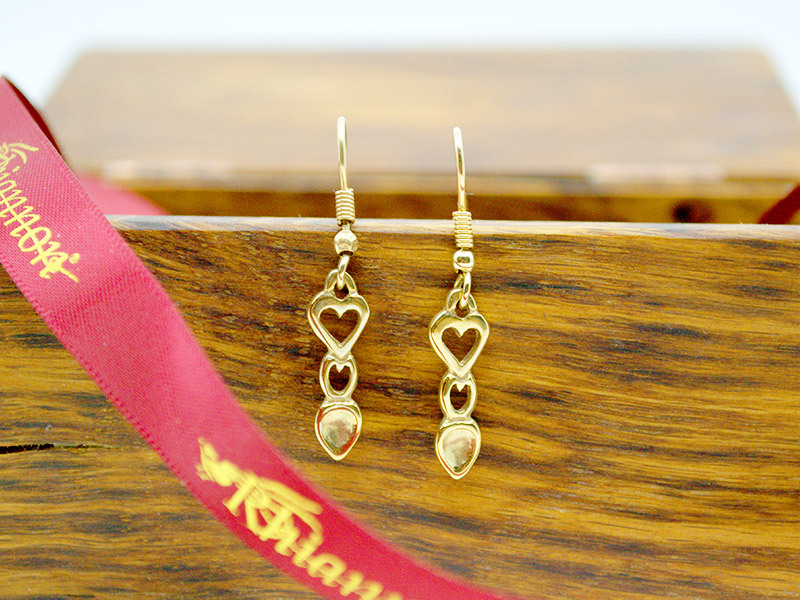 A picture of '9ct Gold Heart Love-spoon Earrings''