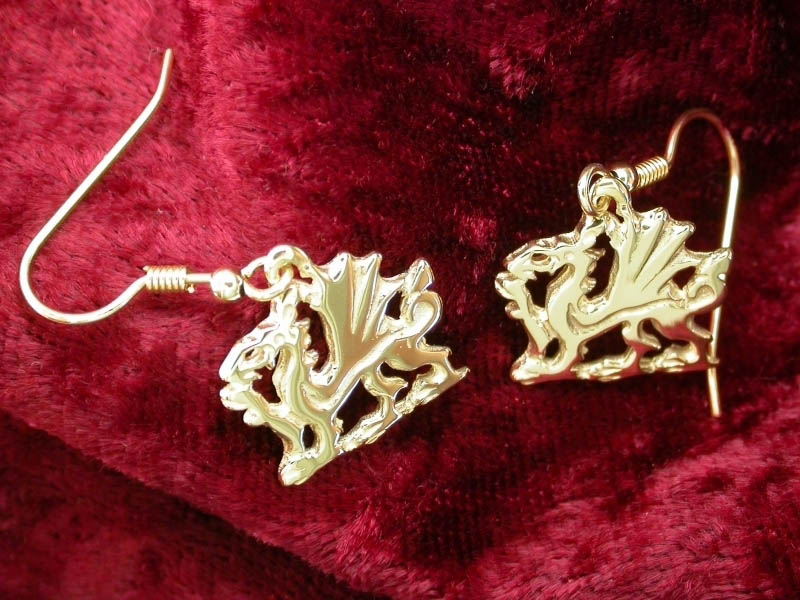 18ct Gold Welsh Dragon Earrings