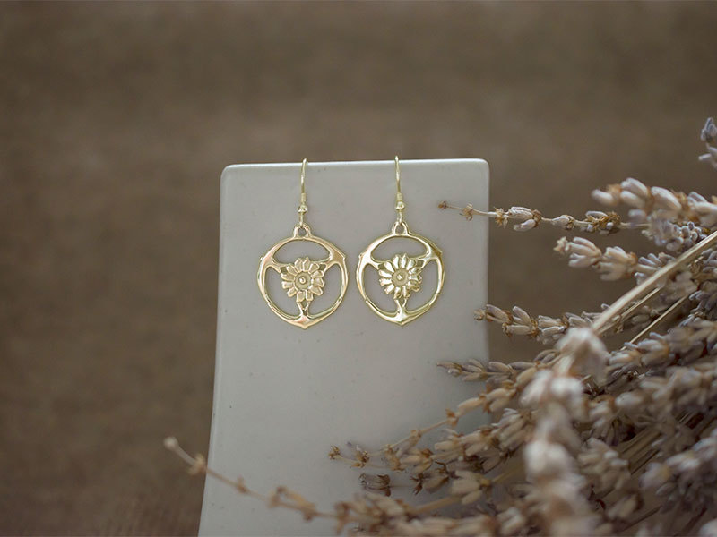 9ct Gold Gorsedd of Birds Earrings