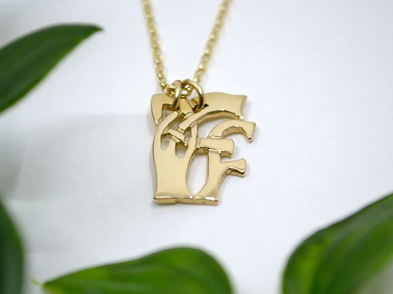 A picture of '9ct Gold Pendant - Initial FF''