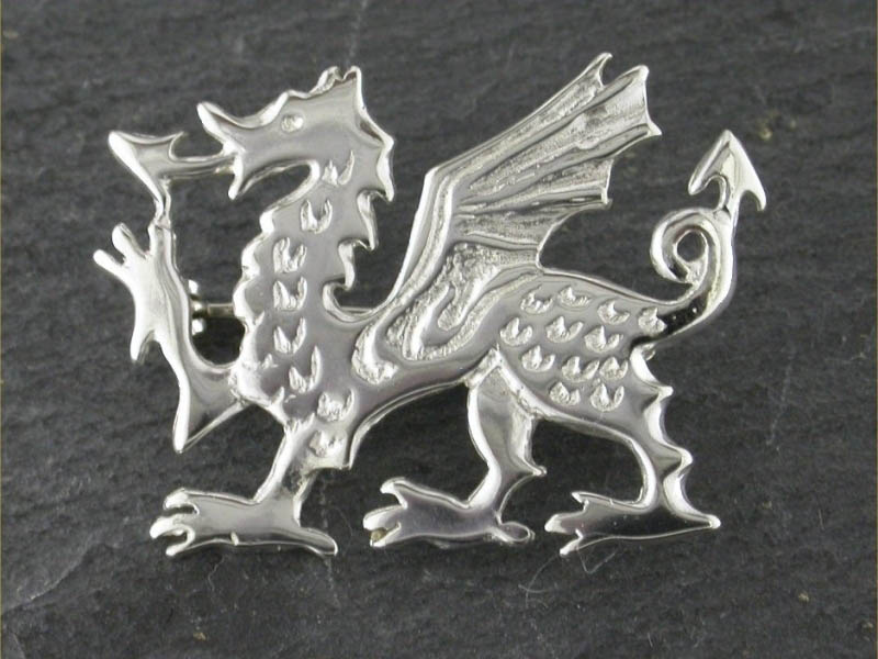 Silver Large Dragon Brooch