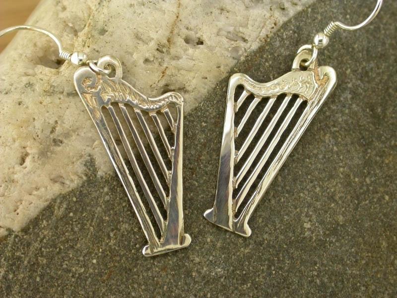 Silver Harp Earrings