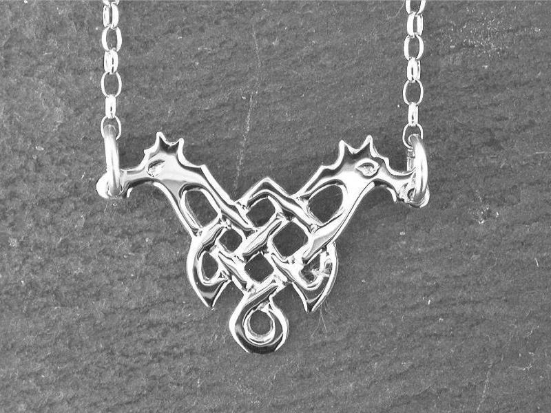 Silver Knotted Dragon Necklet