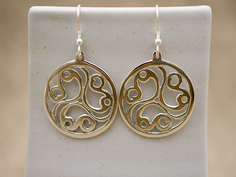 A picture of 'Silver Talyllyn Triskele Earrings''