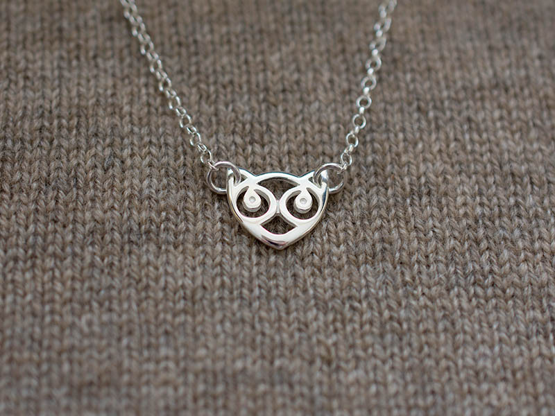 A picture of 'Silver Small Snowdon Cat Necklet''