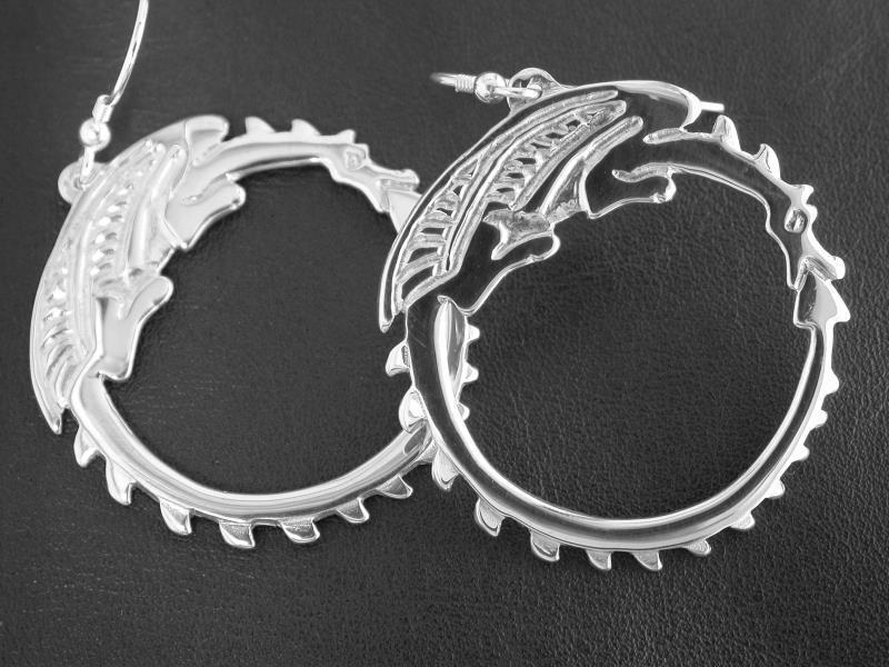 Silver Circle Dragon Earrings