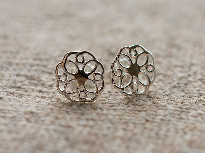 Silver Summer Rose Earstuds