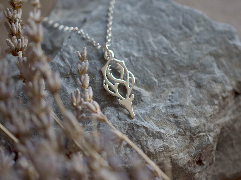 A picture of 'Silver Rhedynfre Stag Pendant''