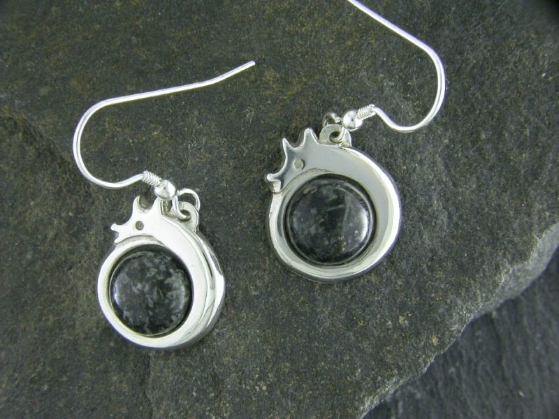 A picture of 'Silver Preseli Dragon Earrings''