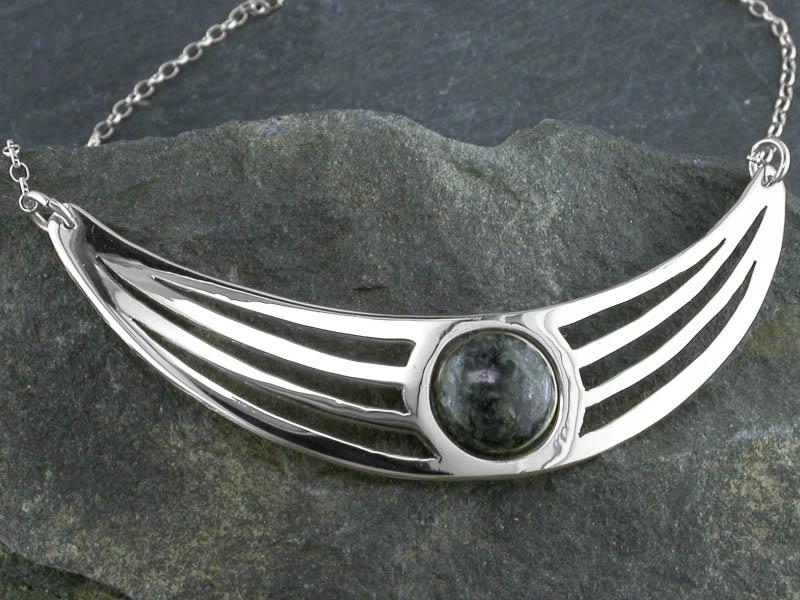 A picture of 'Silver Preseli Lunula Necklet''