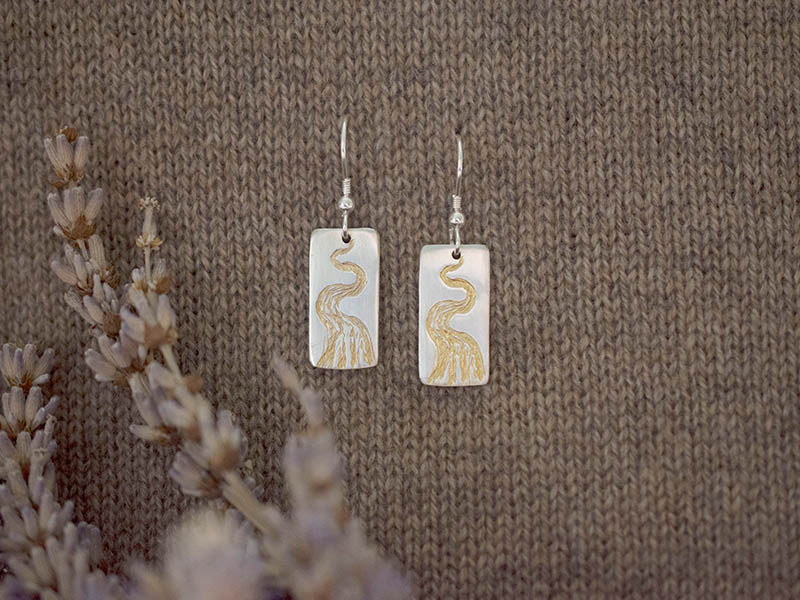 A picture of 'Silver and Gold Afon Teifi Earrings''