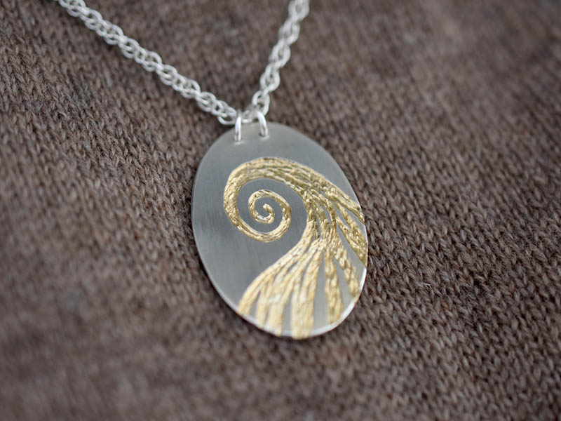 A picture of 'Silver and Gold Afon Aeron Pendant''