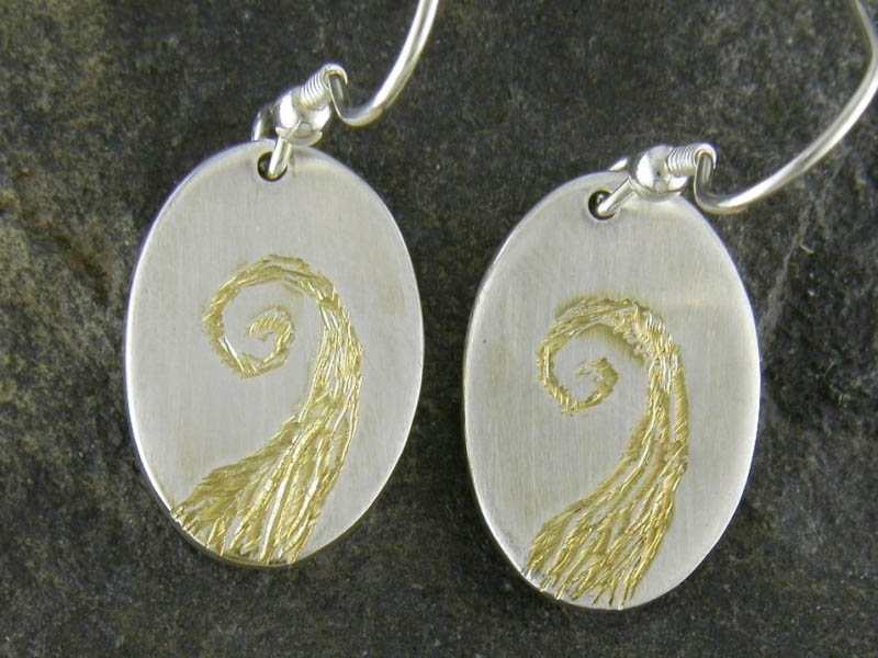 A picture of 'Silver and Gold Afon Aeron Earrings''