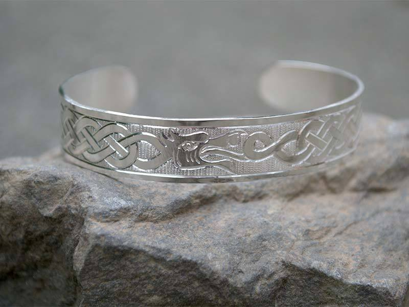 A picture of 'Silver Merlin's Dragons Bangle''
