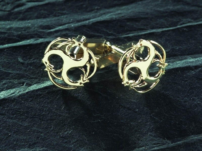 9ct Rhiannon Welsh Gold Merlin Cufflinks