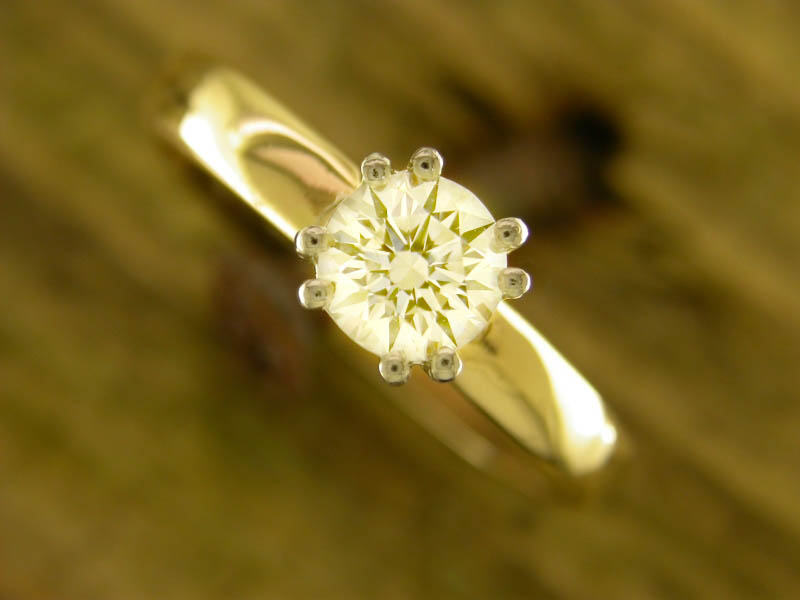 A picture of '9ct Rhiannon Welsh Gold Diamond Solitaire Ring''