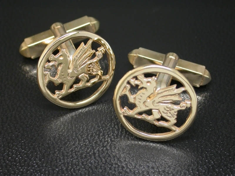 9ct Rhiannon Welsh Gold Dragon Cufflinks